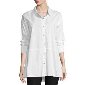 Eileen Fisher cotton button down tunic blouse